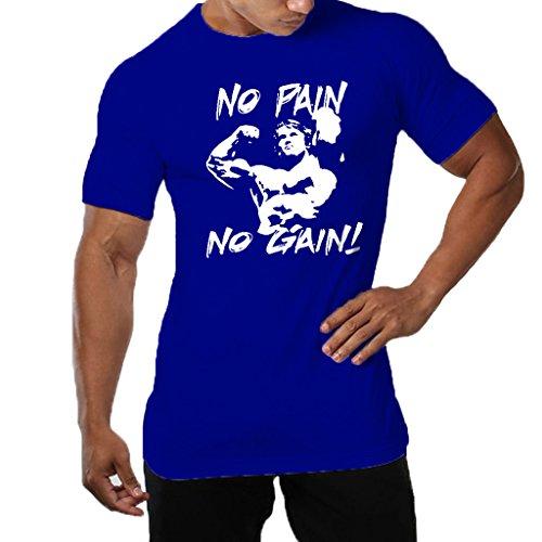Men's Gym NO Pain NO Gain Workout Bodybuilding Causal Muscle Cotton T-Shirt Tee Sportwear-BU-S Blue