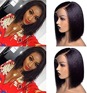 Italian Yaki Human Hair Wig Short Bob Yaki Straight Lace Front Human Hair Wigs With Baby Hair Pre Plucked Bleached Knots Glueless Remy Brazilian Short Human Hair Wigs (8 Inch, 13X4 Lace Front Wig)