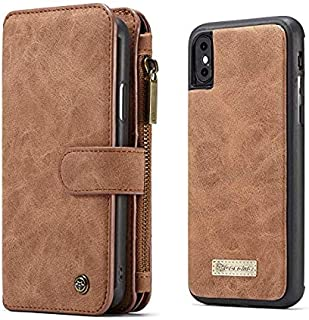 iPhone X case leather phone shell business style cover anti fall shockproof protective sleeve brown