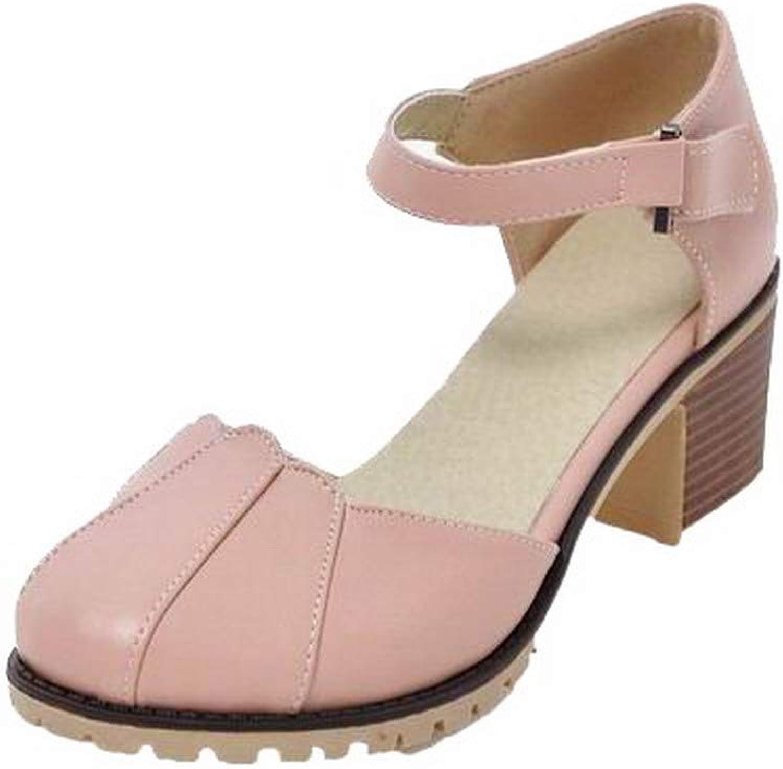 WeiPoot Women's Hook-and-Loop Pu Round-Toe Kitten-Heels Solid Sandals, EGHLH007721