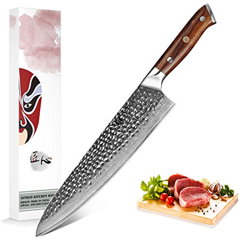 XINZUO 25.5cm Acero de Damasco Cuchillo de Cocinero Cuchillo de Chef Japonés Cuchillo de Cocina Profesional Multifunción Afilado Gyuto -Patrón Martillado -Mango Desert Ironwood -Serie Yu