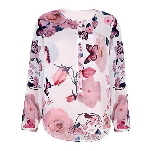 Boho Blusen Damen Elegante Oberteile Blumen V-Ausschnitt Tunika T-Shirt mit Rüschen Langarm Vintage Tops mit Spitze Freizeit Chiffon Bluse Manschetten-Ärmel Locker Shirt