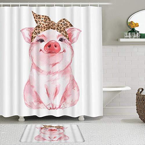 RUBEITA 2-teiliges Duschvorhang-& Matten-Set,Schwein Nutztier Lustiges süßes Schweinchen,rutschfeste Teppiche,wasserdichte Badvorhänge mit 12 Haken