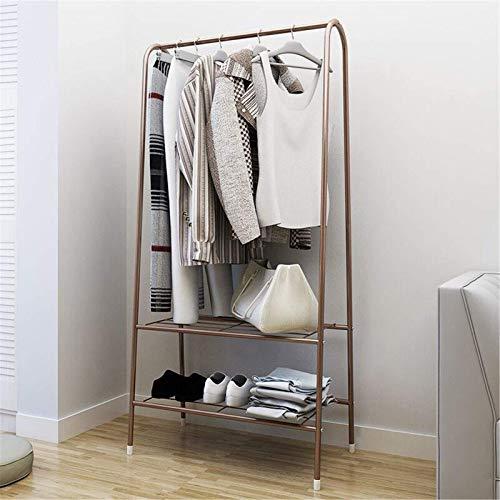 Zjcpow Perchero para dormitorio (153 x 60 x 36 cm), organizador de zapatos, portátil, soporte para ropa, para sala de estar (tamaño: 153 x 60 x 36 cm, color: marrón)