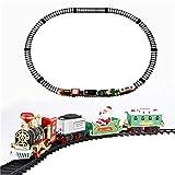 HSKB - Decorazione natalizia in stile vintage, con treno di luci e tonalità, in legno