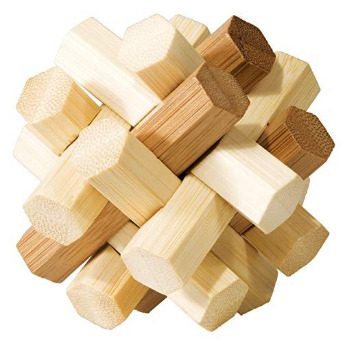 Fridolin 3D-Puzzle Doppelter Knoten aus Bambus, IQ-Test / Brainteaser