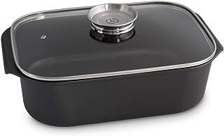 Rustidera Besuguera para asar, Aluminio Colado Recubrimiento de Teflón, opcional con cubierta de parrilla adicional - 6 Litros