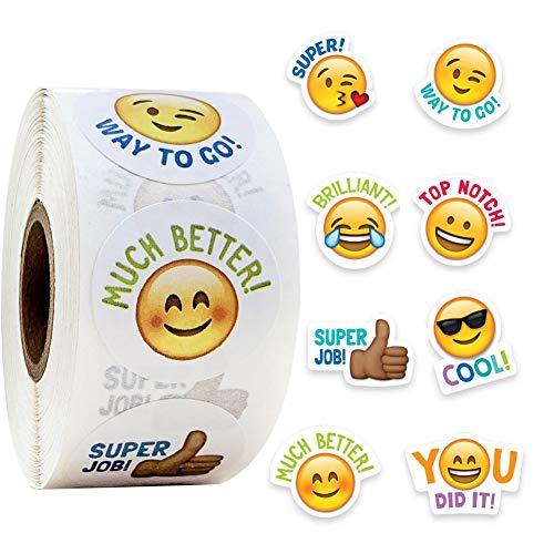 Emoji Smiley Pegatinas de escritura redonda Smiley Pegatinas profesores y niños Adhesivo dedicado Pegatinas de recompensa para niños 25 mm redondo 1 pulgada 500 etiquetas en un rollo