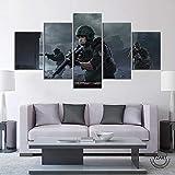 YQRX Cuadro sobre Lienzo 5 Partes Imprimir En Lienzo HD Cuadros para Dormitorios Modernos Decoración para El Hogar Póster del Juego Wars Online Shooter Cuadro/150x80cm