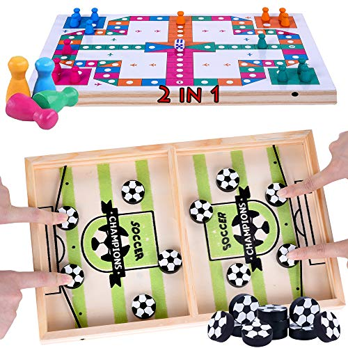 Schnelles Sling Puck Fast Sling Puck Spiel Brettspiele Checkers 2 in 1 Sling Games Table Desktop Battle Ice Hockey Game Paced Sling Puck Winner Wood Board Sport Toys Small 14.4 in X 8.8 in