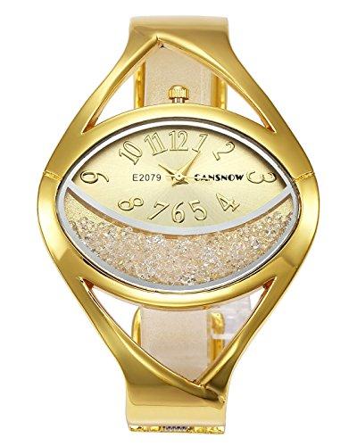 JSDDE Uhren Elegante Damen Armbanduhr Chic Manschette Halbmond Strasssteine Damenuhr Spangenuhr Armreif Quarzuhr für Frauen Gold