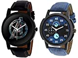 Y&S Avenger and Blue Denim Analogue Quartz Watch Combo in Black and Blue