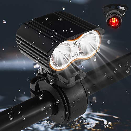 Keyohome 2400lm LED Rennrad Frontscheinwerfer MTB Mountain Scheinwerfer Scheinwerfer LED Fahrradbeleuchtung-Set Frontlicht und Rücklicht IP-65 wasserdicht