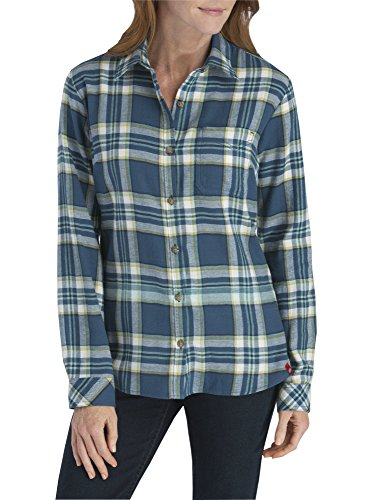 Dickies Women's Plus-Size Long-Sleeve Flannel Shirt, Southern Fall/Opaque White Plaid, 1X