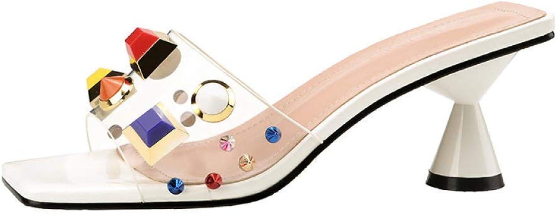 Quadrat-Kopf Offene Zehen Frauen Farbe Hausschuhe - Mode Offene Zehen Sandalen Sexy Dick mit Einer Art von Frauen Schuhe Transparent Temperament High Heel Sandaletten ( Farbe   Wei , Gre   38 )
