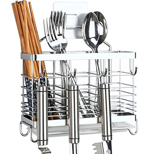 SUS 304 Stainless Steel Hanging 3 Compartments Mesh Utensil Drying RackChopsticksSpoonForkKnife with Removable Drainer tray Square