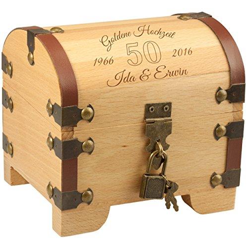 Schatkist - Gouden bruiloft: Vintage houten kist met slot en gravure: Gepersonaliseerd met naam en datum - Geldgeschenk origineel verpakt voor gouden bruiloft