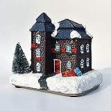 Decoración Navideña, Decoración De La Casita Con Luces, árbol De Navidad Flotante En La Nieve, Regalos De Navidad