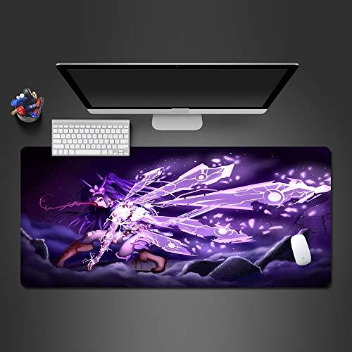 ZHANGSBD Große Gaming Mauspad aus Stoff XXL Lila Anime Flügel Mädchen - Geringe Oberflächenreibung 900x400mm Gleichmäßige Oberflächenstruktur rutschfest Gummiunterlage mit vernähten Rändern Schreibtis