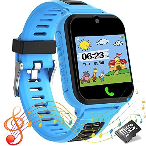 Reloj inteligente niños,Smartwatch para niños con llamadas para S0S,14 juegos,cámara,video,reproductor de música,calculadora,pantalla táctil,relojes infantiles regalos para de 4 a 12 años(azul