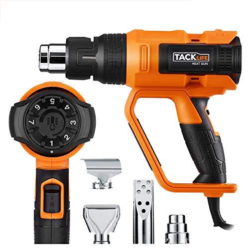 Heat Gun, Tacklife 122℉~1112℉(50℃~600℃) Precision Control Temperature by Adjustment Dial with Three Temp-settings, Four Nozzle Attachments for Removing Paint, Bending Pipes, Shrinking PVC-HGP73AC