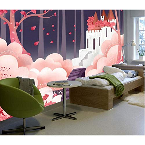 Behang voor Meisjes Kamer,Cartoon Romantisch Kasteel Rood Ontwerp Behang Muur, Schilderij Moderne Woonkamer Meubilair Ideeën 208cm (B) x146cm (H)