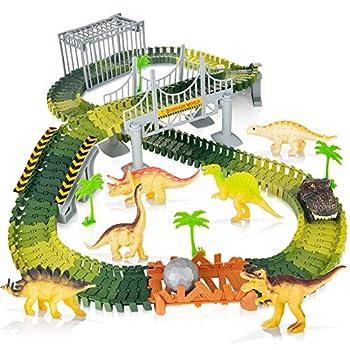 Batlofty Dinosaur Toys Race Car 168 Pcs Flexible Tracks Playset Create A Dinosaur World Road with 1 Battery Operated Car & 6 Dinosaur Figures for 3 Years Old & Up Boys Girls