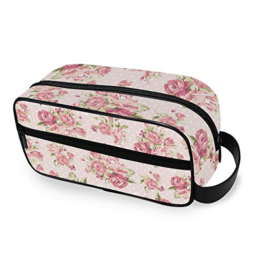 Trousse de toilette Couleur Rose Motif Sur Fond Rose Outils Cosmétique Train Case Portable Maquillage Sac Organisateur Voyage De Stockage