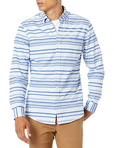 Amazon Essentials Men's Slim-Fit Long-Sleeve Stripe Pocket Oxford Shirt, Blue Horizontal, Medium