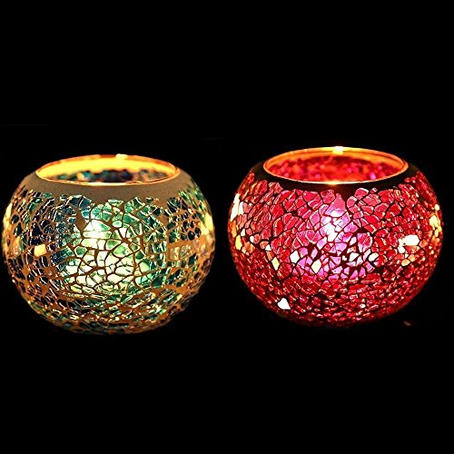 Bougeoir en mosaïque de verre - Lumignon romantique vintage fait à la main pour décoration d'intérieur, cadeau de mariage, Verre, rose