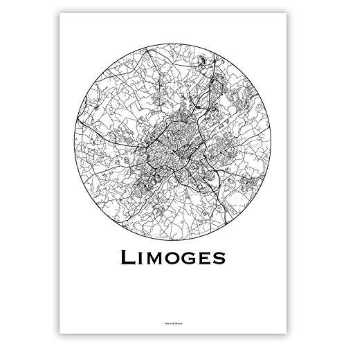 Affiche Limoges France Minimalist Map - City Map, Poster de Limoges, Plan de ville, Impression dArt, Création originale handmade (10 x 15 cm)