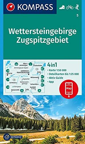 Wettersteingebirge, Zugspitzgebiet: 4in1 Wanderkarte 1:50000 mit Aktiv Guide und Detailkarten inklusive Karte zur offline Verwendung in der ... Skitouren. (KOMPASS-Wanderkarten, Band 5)