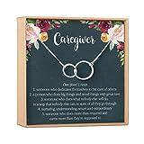 Dear Ava Caregiver Thank You Gift Necklace: Caretaker, Nurse, Attendant, Appreciation, 2 Asymmetrical Circles (Silver-Plated-Brass, NA)
