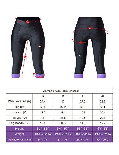 Souke Sports Damen 3/4 Radlerhose 4D gepolstert Atmungsaktiv Quick-Dry Fahradhose Damen Gepolstert 3/4 Radsport Hose - 6
