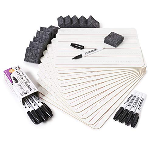 Charles Leonard Dry Erase Board Class Pack, Includes 12 Lined 1-Sided Boards, 12 2x2 Inch Erasers and 12 Black Markers, 1 Class Pack per Box (35025), White Board