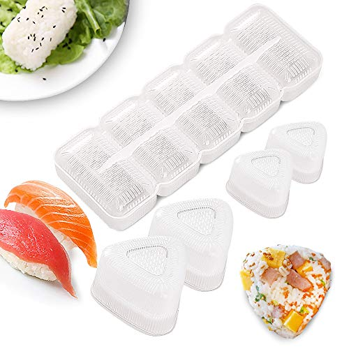 No Stick Sushi Maker Mold with Lid 4 Pack Onigiri Mold Triangle and 1 Pack 5 Rolls Spam Sushi Rice Press 5 Pack