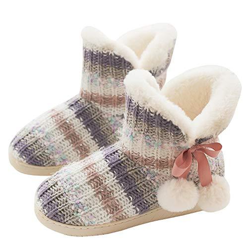 TQGOLD®Chaussons Montants Femmes Hiver Pantoufle Chaud Peluche Doublure Bottes Maison Slippers ,Rose,38/39 EU(Taille Fabricant: 39/40)