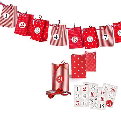 Charl´s Adventskalender zum Basteln und Selbstbefüllen 30teilig mit 24 Tüten und Zahlenaufkleber von 1-24 … (rot)