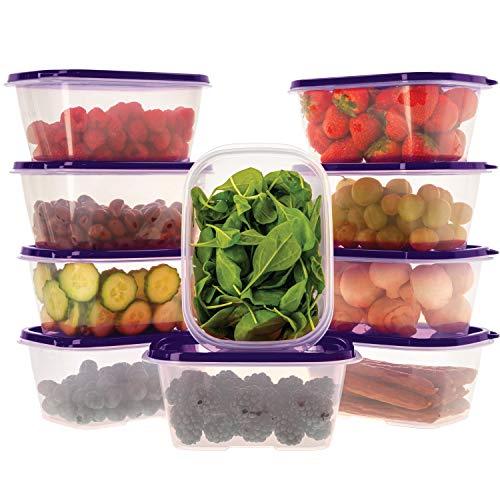 Ensemble de boîtes de Rangement Alimentaires avec couvercles Violet - À Usage Multiple - Lot de 10 récipients x 1L - Alimentaires en Plastique sans BPA - Empilables - Convient pour Lave-Vaisselle