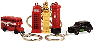 BOHS London Souvenir Gift Red Telephone Booth Bus Mail Box Taxi Big Ben Miniature Model Small Keychain(5 pcs)