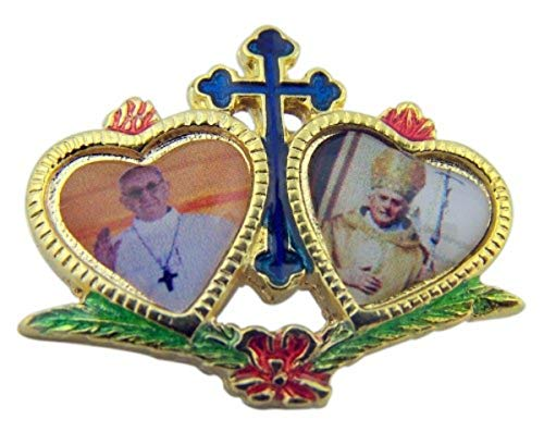 Gold Tone Heart Lapel Pin Pope Francis with Pope Benedict XVI