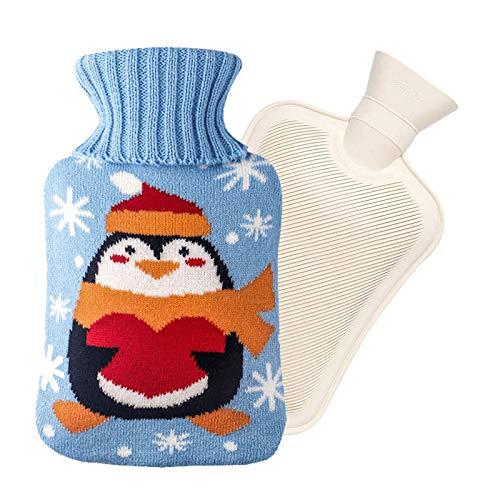 2L Botella de Agua Caliente Fría de Caucho Natural Bolsa de Agua Caliente con Funda de Algodón Seguro Duradero, Alivia el Dolor Corporal, para Hogar, Escuela, Oficina, Viajes Etc—Azul, Pingüino
