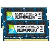 DUOMEIQI Kit de 8GB (2 X 4GB) 2RX8 PC3-8500S DDR3 1066MHz SO-DIMM CL7 204 Pin 1.5v Non-ECC Memoria para computadora portátil sin búfer Módulos RAM para computadora portátil para Intel AMD y Mac