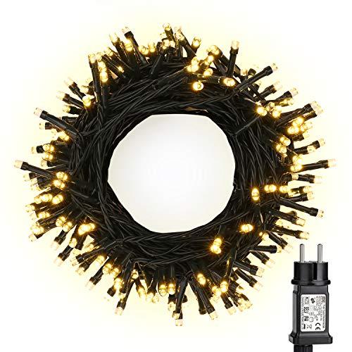LED Weihnachten Lichterkette, BrizLabs 20M 200er Warmweiß Lichterketten Strombetrieben mit 8 Modi EU Stecker Wasserdicht für Innen Außen Hochzeit Party Haushalt Zimmer Garten Halloween Deko
