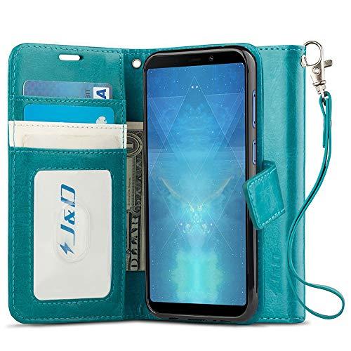 JundD Kompatibel für Galaxy A9 2018 Leder Hülle, [Handytasche mit Standfuß] [Slim Fit] Robust Stoßfest PU Leder Flip Handyhülle Tasche Hülle für Samsung Galaxy A9 (Release in 2018) Hülle - Türkis
