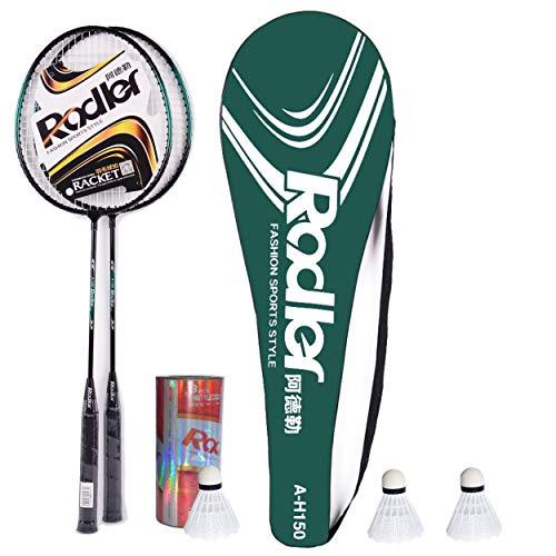 O&W Security Badminton Set Federballspiel Federball 2 Schläger mit 3 Federbälle und Schlägertasche für die ganze Familie Urlaub Garten Strand, Gute Qualität