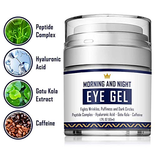 51Jh+XLIENL - Eye Cream - Dark Circles & Under Eye Bags Treatment - Reduce Puffiness, Wrinkles - Effective Anti-Aging Eye Gel with Hyaluronic Acid, Gotu Kola Extract and Caffeine - Refreshing Serum - 1.7oz