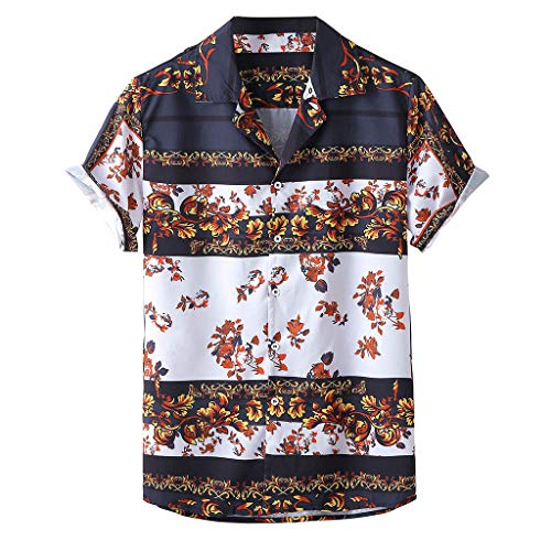 AmyGline Herren T Shirt Hawaiihemd Kurzarm Hemd Vintage Afrika Druck Hawaii Strand T-Shirts Tops Bluse Hemden Freizeithemd