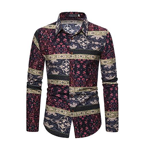 FZYQY Camisas Casual para Hombre Franela Algodón Ajuste Regular Hombres Manga Larga Camisas a Cuadros Botones Camisas de Vestir Cuello Traje/A/XXXL