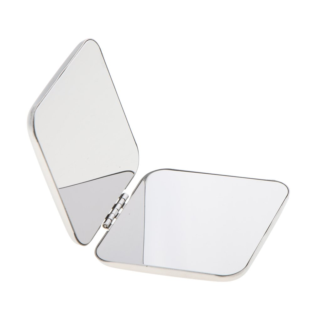 Fenteer Silver Compact Metal Mirror Pocket Small Makeup Mirrors, Double Sided Portable with Unbreakable Surface